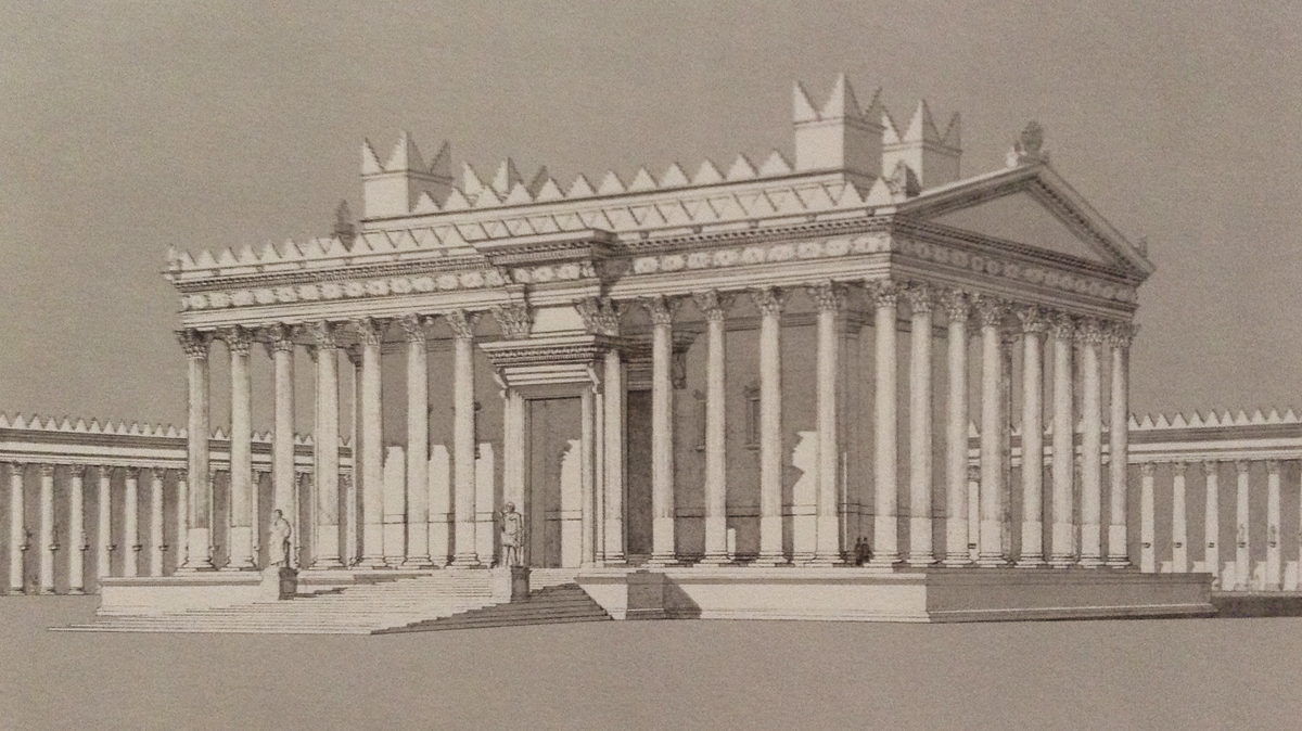 Proposition de restitution du temple de Bel à Palmyre, vue perspective depuis l'angle sud-ouest de la cour (SEYRIG, AMY, WILL 1975, pl. 141).