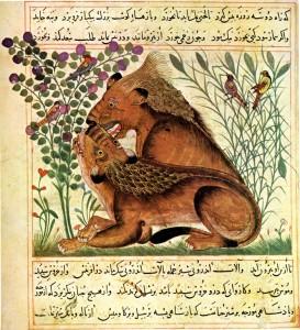 Lions (Manāfi' al-ḥayawān, Perse, Maragha, fin du XIIIe s., Pierpont Morgan Library)