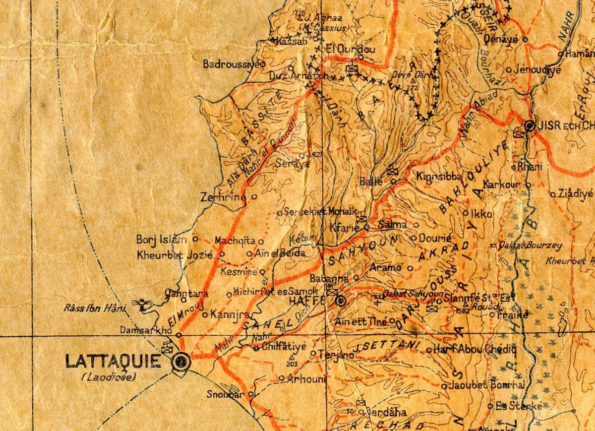 Carte de 1939, Syrie, Liban, détail de la région de Lattaquié (actuelle Syrie)