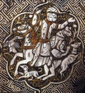 Chasse à cheval, avec guépard assis derrière le cavalier. Aiguière Blacas (détail), vers 1232, Irak, Mossoul. British Museum, ME OA 1866.12-29.61