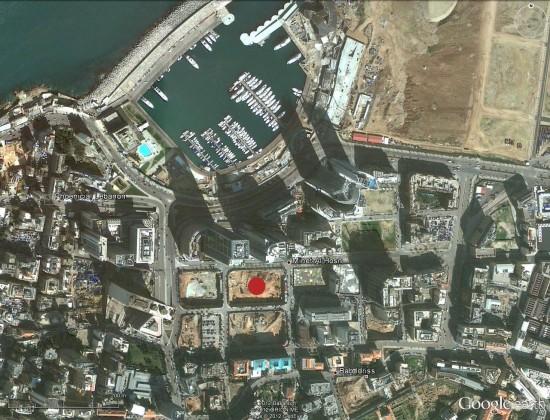 Localisation du chantier sur l'image google du quartier de Minet al-Hosn (centre ville de Beyrouth)