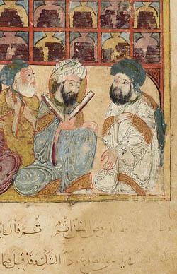 Abû Zayd à la bibliothèque de Basra (Makamat de Hariri, Paris, Bnf, Arabe 5847, f. 5v, detail)