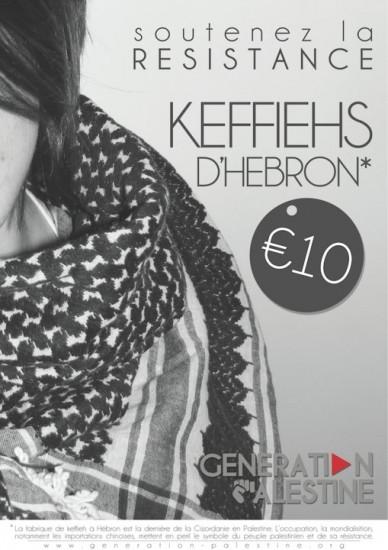 Affiche d'une campagne de vente de keffiehs palestiniens  par l'association française Génération Palestine.