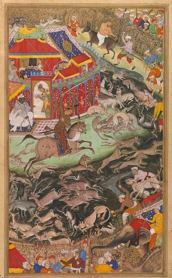 Miskina et Sarwan, Akbar Hunts Near Lahore, Victoria & Albert Museum