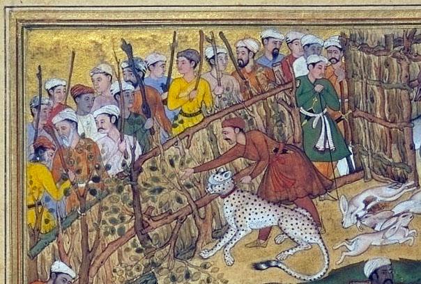 Mansur, Akbar chassant dans un enclos (Akbarnama) (détail), Londres, Victoria and Albert Museum