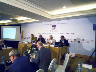 De gauche à droite, Scott Bollens (USA), Gaby Layoun (ministre de la Culture), Emile Akra (Liban, Organisation des architectes arabes) et Ayman Zeayter (Jordanie)