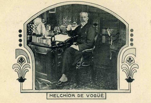 Melchior de Vogüé publia les premières études de référence sur les Eglises de Terre sainte (1860) et le Haram esh-Sharif (1864).