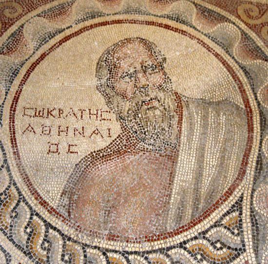 Socrate, détail de la mosaïque des Sages, Musée national de Beyrouth (photo F. Alpi)