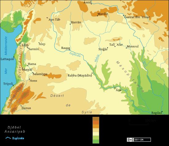 Croquis de situation - Diffusion de la doctrine nuṣayrie de la Mésopotamie aux rives de la Méditerranée (IXe-Xe siècles). Carte : Bruno Dewailly CC-BY-SA