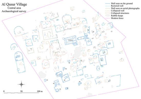 Al-Quṣūr, plan du centre de l'installation. J. Humbert © MAFKF