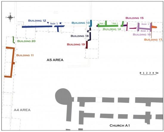 Al-Quṣūr, plan du secteur A5. J. Humbert © MAFKF