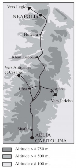Carte schématique du tracé de la voie romaine. Margaux Thuillier.