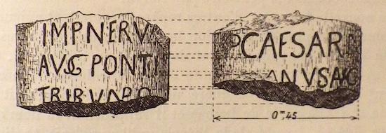 Dessin de la borne milliaire. VINCENT Louis-Hugues, 1901, R.B., p. 97.