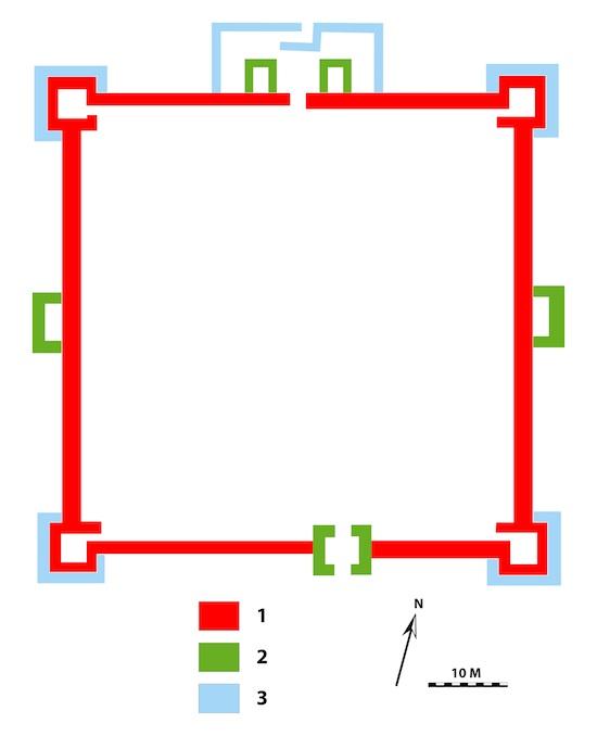 Figure 1 : Schéma des fortifications du premier état, phases 1 à 3. M. Gelin © MAFKF.