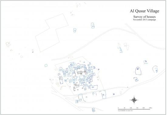 Plan en cours du site d'al-Quṣūr avec murs apparents et restitutions (J. Humbert © MAFKF)