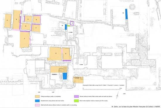 Consolidations réalisées dès 2011 dans la partie sud de la forteresse par M. Gelin (sur la base du plan Mission française de O.Callot © MAFKF)