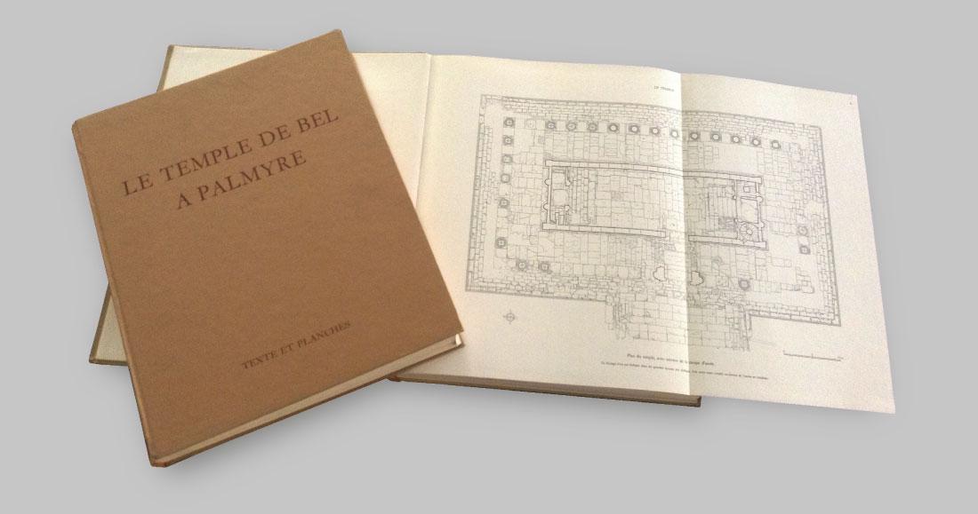 Fig. 2 : Le temple de Bel à Palmyre, de Henri SEYRIG, Robert AMY et Ernest WILL. Monographie publiée par l'Ifpo (alors IFAPO) en 1968 (album) et 1975 (texte et planches), dans la Bibliothèque Archéologique et Historique (BAH 83).