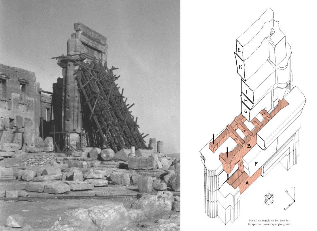 Fig. 6 : Restauration de la porte du temple en 1932. Vue d'ensemble du chantier depuis le nord-ouest (cliché Ifpo) et isométrie des parties hautes, avec mise en évidence des éléments en béton armé (ECOCHARD, Syria 18, 1937, fig. XXXV).