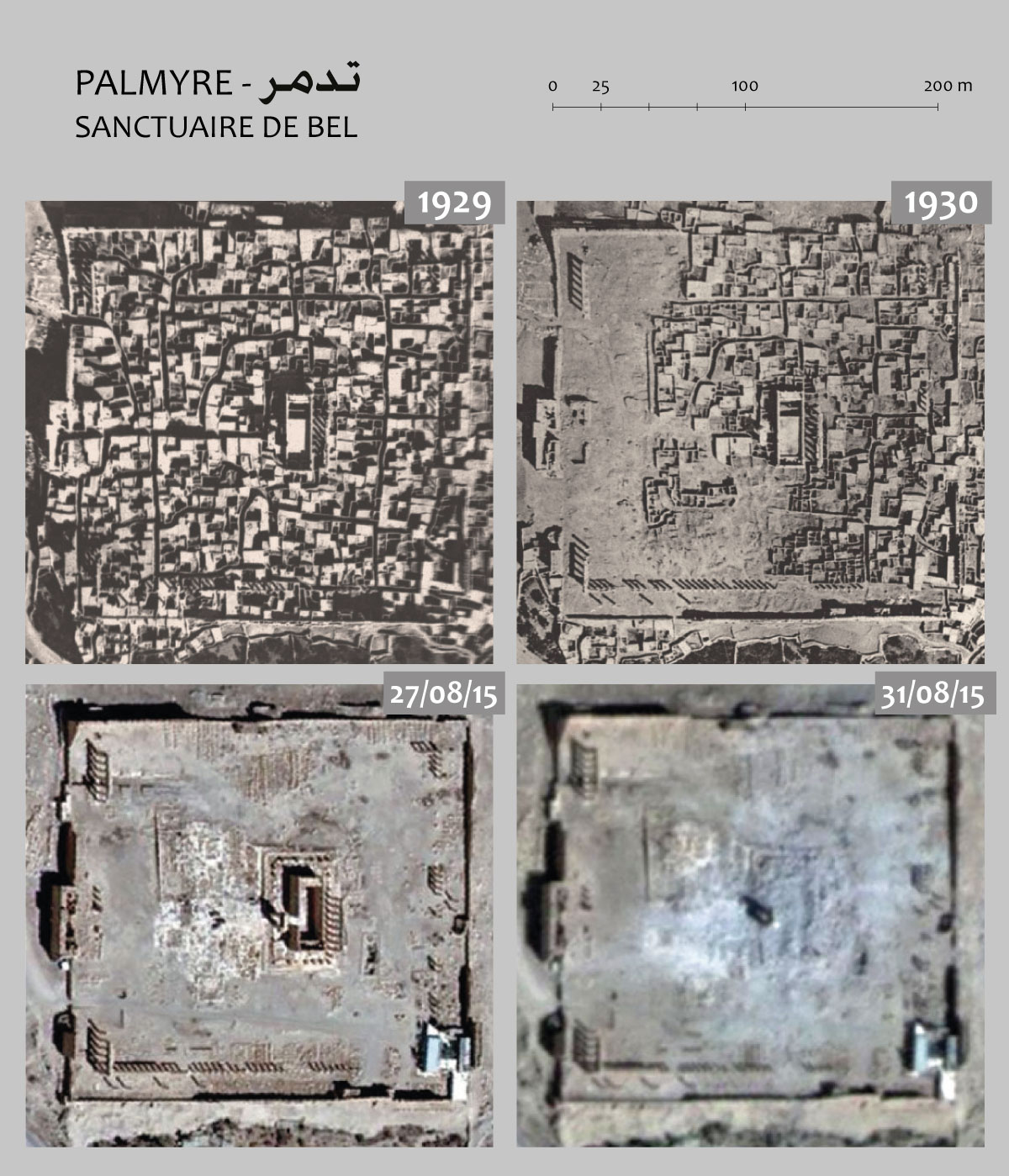 Fig. 7 : Vues aériennes du sanctuaire de Bel, avant et en cours de dégagement (clichés Ifpo), avant et après sa destruction (clichés satellitaire Unitar-Unosat des 27 et 31 août 2015). Montage Ifpo.