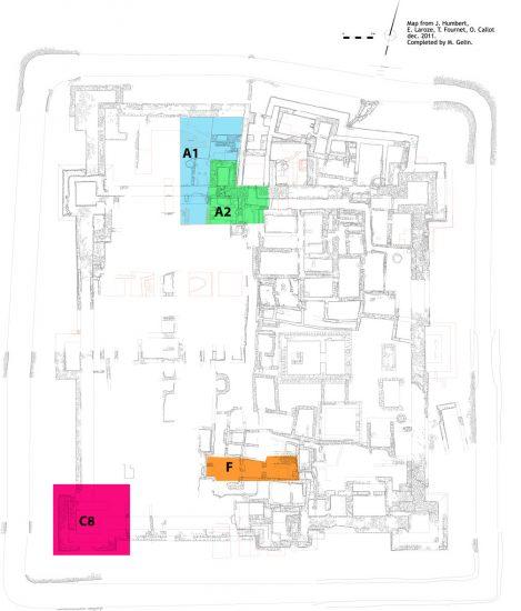 Secteurs concernés par la fouille en 2014 et 2015, dessin M. Gelin sur un plan J. Humbert, O. Callot, T. Fournet, E. Laroze © MAFKF.