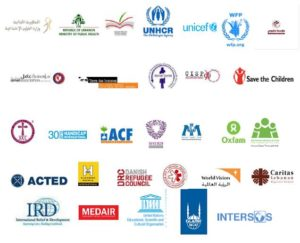 "Logos des principales Agences participant au programme ""Syria Regional Refugee Response au Liban"""