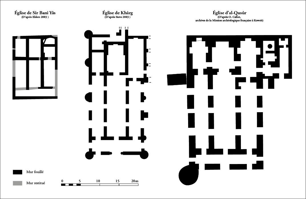 Fig. 2 : les églises de Sîr Banî Yâs, Khârg et al‑Qusûr.