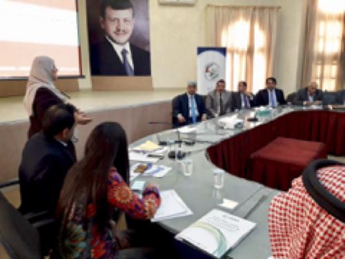 Session de formation assurée par le programme CITIES d'USAID dans la municipalité de Zarqa, en mars 2018