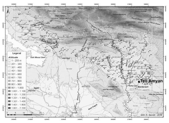 Figure 1 : localisation du site d'Amyan, dans la plaine d'Akre (d'après Morandi & Iamoni 2015