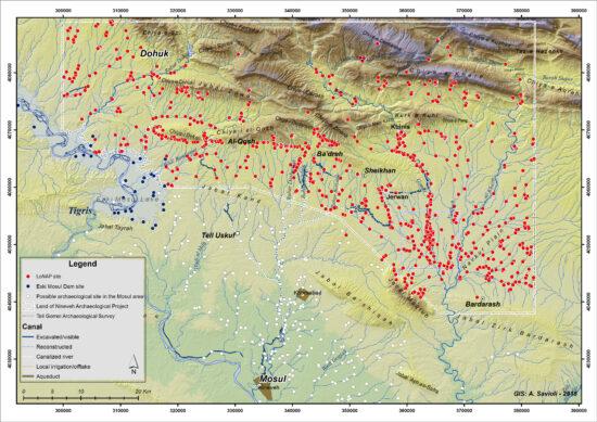 Fig. 1. Zone de prospection et sites identifiés du Land of Nineveh Archaeological Project