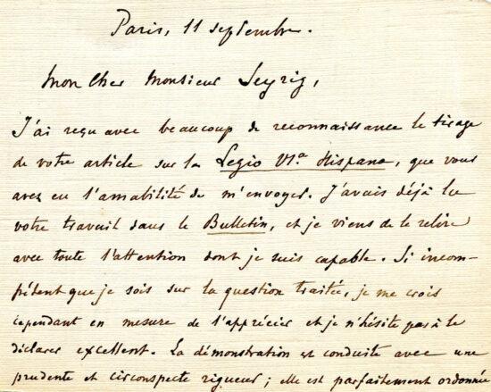 Le bristol de Maurice Holleaux, recto et verso 1